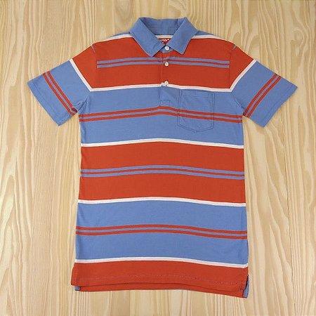 Camiseta Gola Polo Listrada Azul e Vermelha Infantil Gap Kids