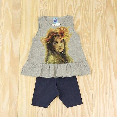 Conjunto Regata Cinza e Shorts Azul Marinho Infantil Basic Só Outlet