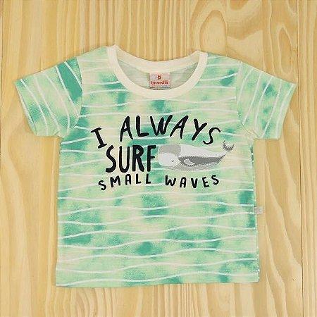 Camiseta Verde e Branca Baleia Infantil Brandili