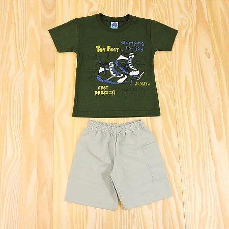 Conjunto Camiseta Verde e Shorts Cinza Infantil Basic Só