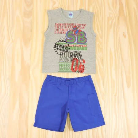 Conjunto Regata Cinza e Shorts Azul Infantil Basic Só