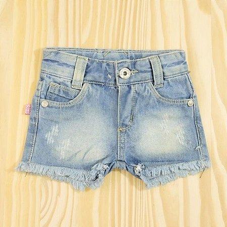 Shorts Jeans Cintura Ajustável  Infantil