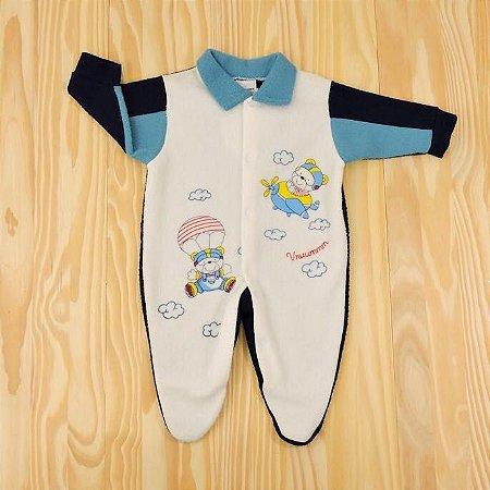 Macacão Branco e Azul Marinho Infantil Clube do Dino