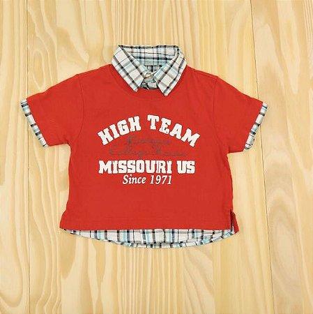 Camiseta Vermelha e Xadrez Infantil Baby Club