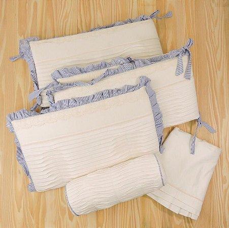 Kit Berço Off White e Azul 5 Peças - Menino