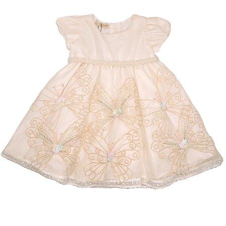 Vestido Tule Off White Bordado Borboletas Pérolas Infantil Miss|Mano