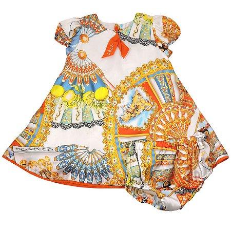 Vestido Seda Estampado com Calcinha Infantil Lòlò
