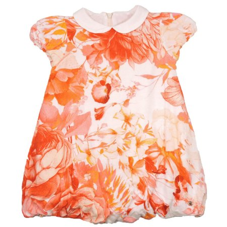 Vestido Off White Florido Coral Infantil Roberto Cavalli