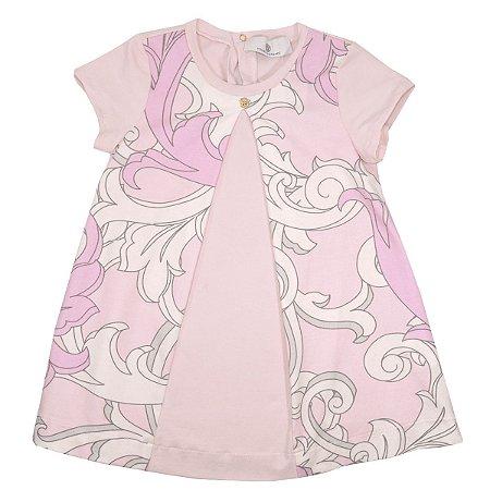 Vestido Rosa Estampado Infantil Young Versace