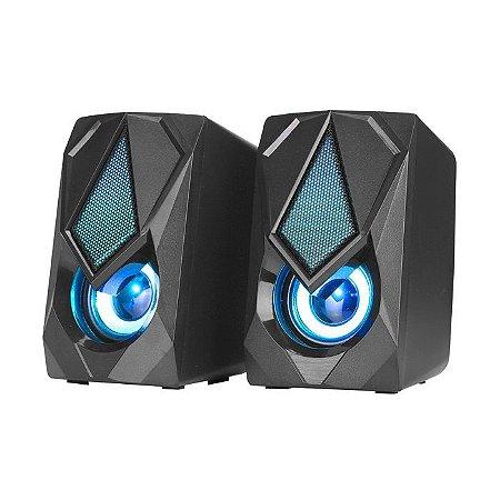 CAIXA DE SOM P2 SK-402 STEREO 2.0 RGB COM ALIMENTACAO USB XTRIKE ME BOX