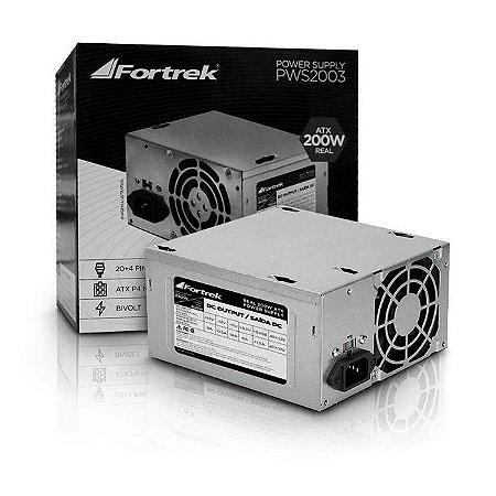 FONTE ATX 200W 20/24 PINOS PWS2003 2* SATA 2* IDE S/CABO FORTREK BOX