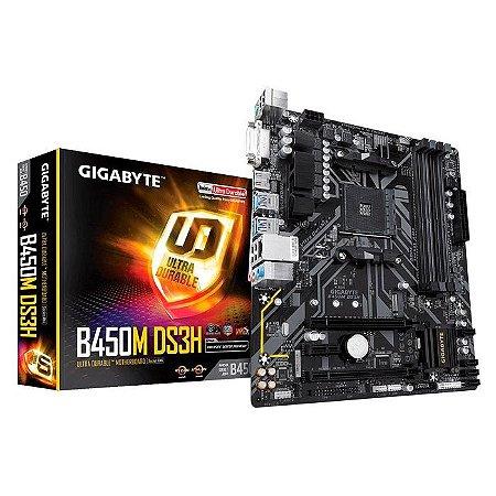 PLACA MAE AM4 MICRO ATX B450M DS3H V2 DDR4 DVI-D/HMDI GIGABYTE BOX