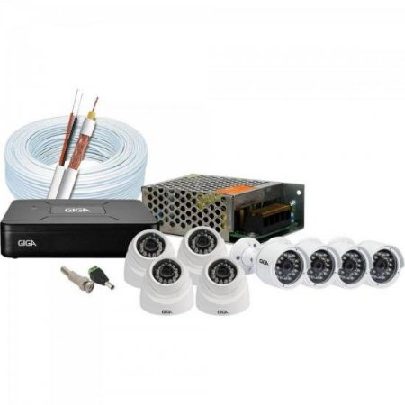 Kit CFTV DVR 8 Canais GS0083 + 4 Câmeras Dome GSHDP20DB + 4 Câmeras Bullet GS0016