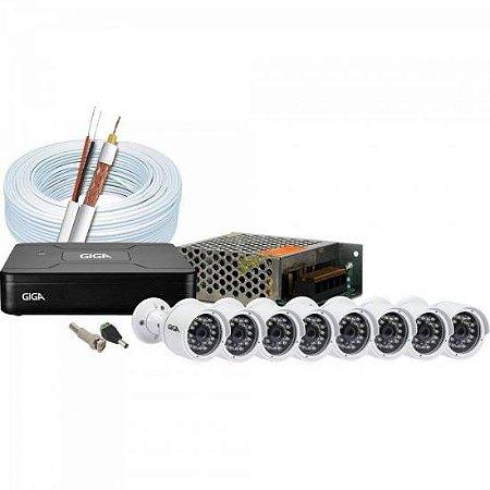 Kit CFTV DVR 8 Canais GS0083 + 8 Câmeras Bullet GS0016 GIGA