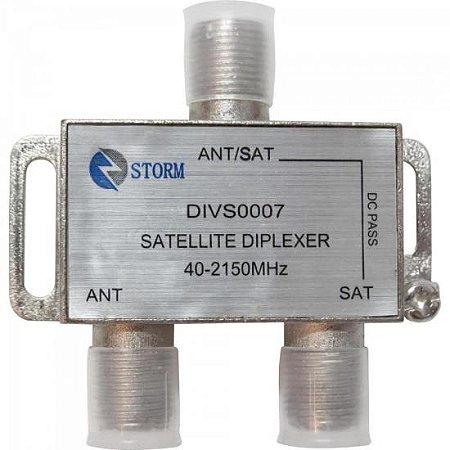 Diplexer Satélite VHF/UHF/SAT 1 Entrada x 2 Saídas DIVS0007 Níquel STORM