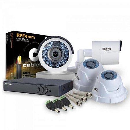 KIT 4 Câmeras e DVR para CFTV AQUARIO