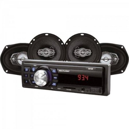 "Kit Som Automotivo Radio MP3 + 2 Alto Falantes 6"" + 2 Alto Falantes 6X9 AU955 Preto MULTILASER"