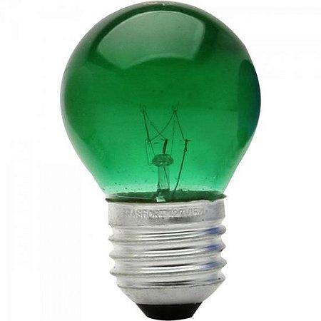Lâmpada BOLINHA 15W 127V E27 BG45 Verde BRASFORT