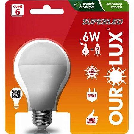 Lâmpada LED Bulbo 6W Bivolt 6500K SUPERLED Branca OUROLUX