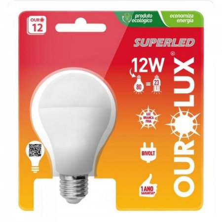 Lâmpada Superled Bulbo 12w 6500K OUROLUX