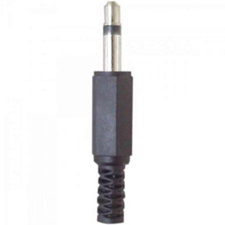 Plug P2 Mono Plástico Preto GENÉRICO