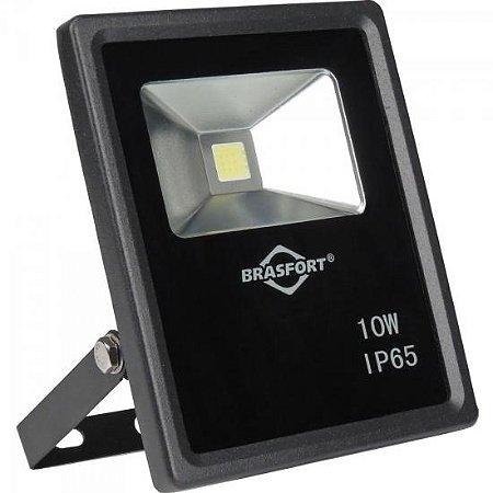 Refletor de LED 10W 6500K Bivolt SLIM Preto BRASFORT