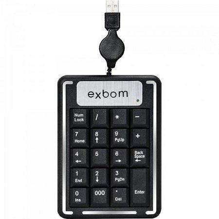 Teclado Numérico USB Cabo Retrátil BK-N20 Preto EXBOM