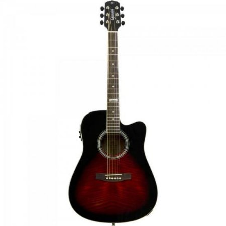 Violão Eletroacústico Dreadnought Folk Cutaway Aço GF-1D CEQ Brown Red Burst GIANNINI