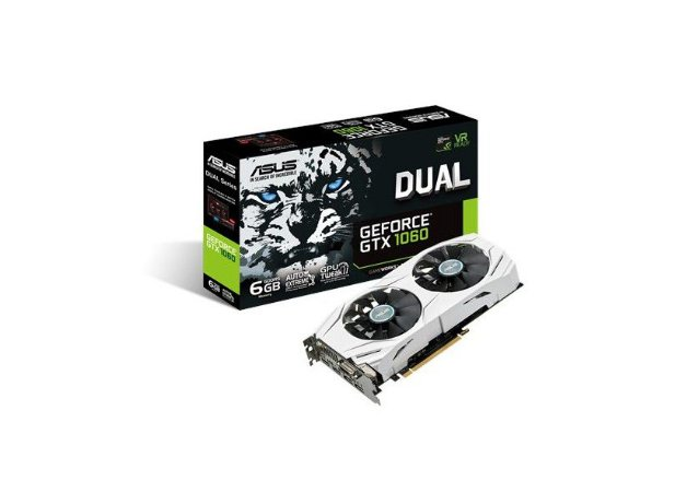 PLACA DE VIDEO 6GB PCIEXP GTX 1060 DUAL-GTX1060-O6G 192 BITS DDR5 DVI/HDMI/DP ASUS