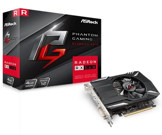 PLACA DE VIDEO ASROCK RADEON RX 560 4GB PHANTOM GAMING DDR5 128 BITS