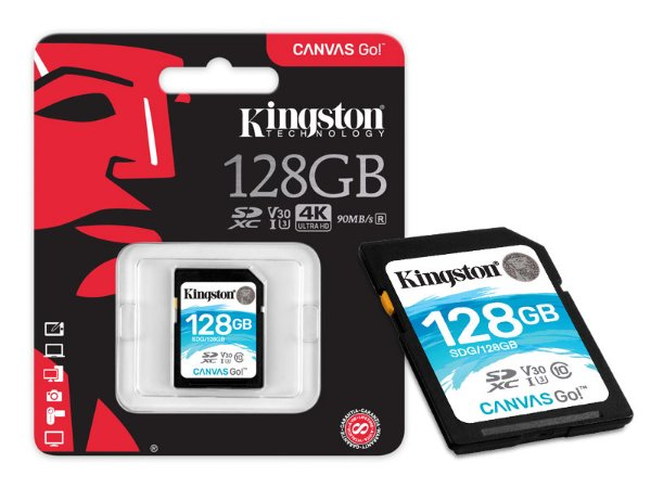 CARTAO DE MEMORIA CLASSE 10 KINGSTON SDG/128GB SDXC 128GB 90R/45W UHS-I U3 V30 CANVAS GO