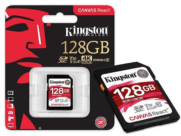 CARTAO DE MEMORIA CLASSE 10 KINGSTON SDR/128GB SDXC 128GB 100R/80W UHS-I U3 V30 CANVAS REACT