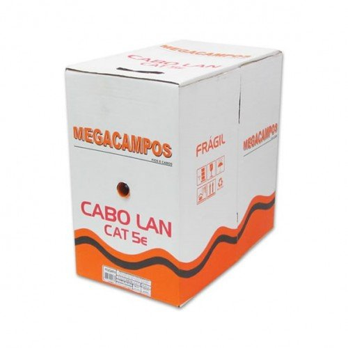 CAIXA DE CABO DE REDE 300 METROS CAT5E 100% COBRE PRETO MEGACAMPOS