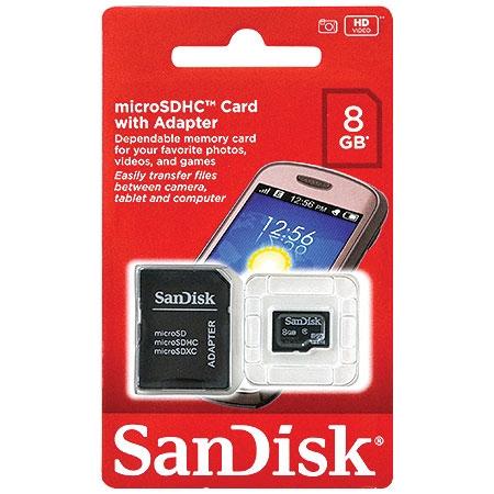 CARTÃO DE MEMORIA MICRO SD SDSDQM-008G-B35A 8 GB C/MICRO SD ADAPTER SANDISK
