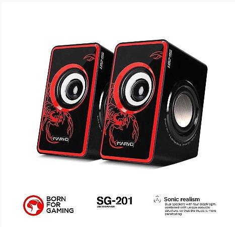 CAIXA DE SOM DE SOM SG-201 3.5 W 2.0 CANAIS SCORPION RED MARVO