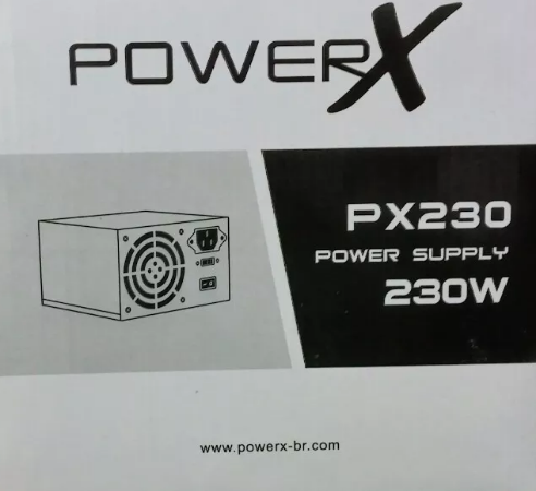 FONTE ATX 230W 20/24 PINOS PX230 2*SATA 2* IDE COM CABO POWERX