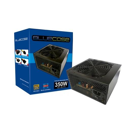 FONTE ATX 350W REAL BLU350PFC 2*SATA 2* IDE PFC ATVO COM CABO BLUECASE