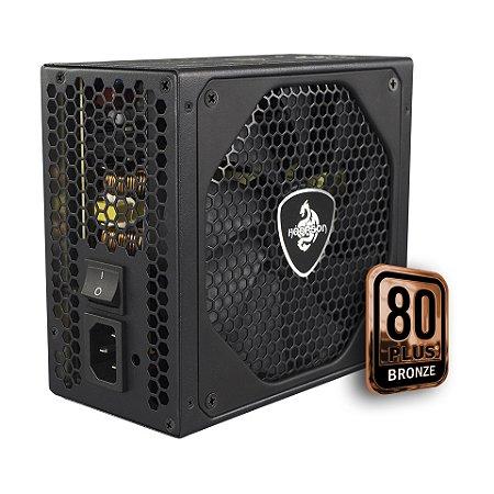 FONTE ATX 750W REAL 20/24 PINOS GT750 8 SATA 6 IDE PFC ATVO 80 PLUS BRONZE HOOPSON