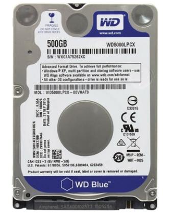 HD 500GB SATA 3 6GB/S WD500LPCX 5400RPM NOTEBOOK/ULTRABOOK WESTERN DIGITAL SEM EMBALAGEM