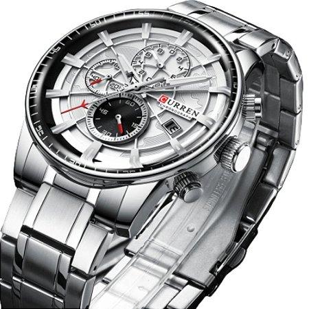 Relógio Curren 8362 Original todo Funcional Aço Inox Cronografo