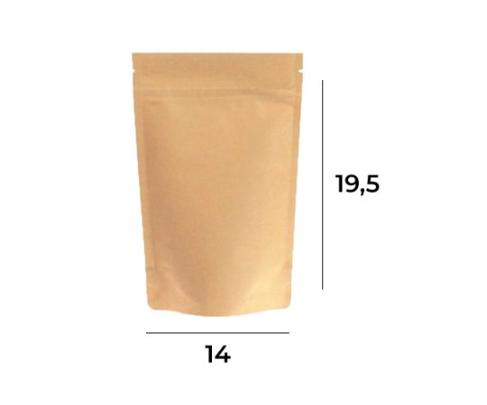 Saco Stand up Pouch Kraft com Zip  – 14 x 19,5 x 3