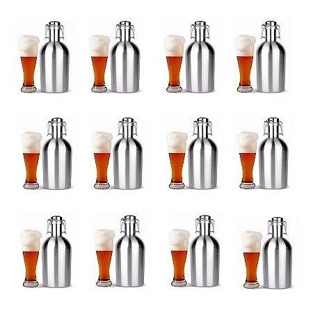 Kit 12 Growlers Garrafão Inox 2 Litros Cerveja Artesanal