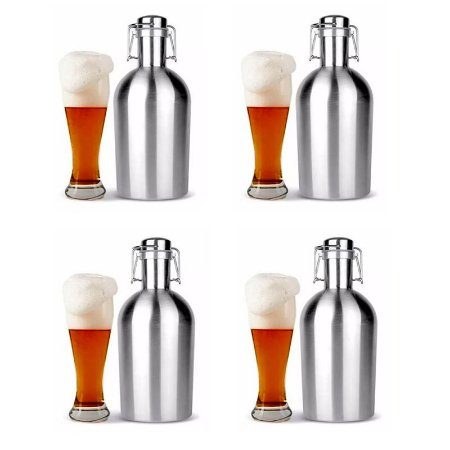 Kit 4 Growlers Garrafão Inox 2 Litros Para Cerveja Artesanal