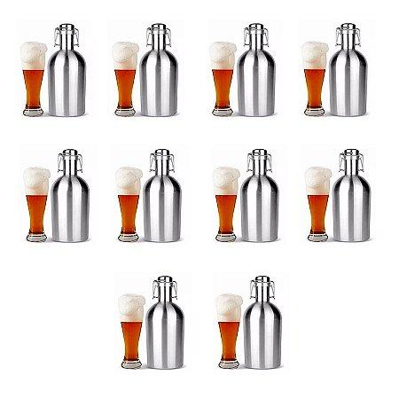 Kit 10 Growlers Garrafão Inox 2 L Para Cerveja Artesanal