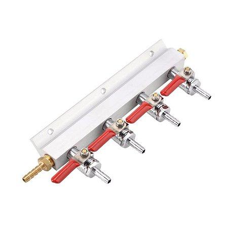Régua Manifold Distribuidor De Gás Carbônico Co2 - 4 Saídas.