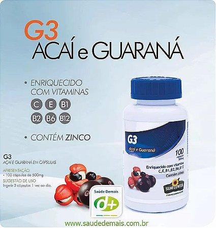 G3: Açaí e Guaraná 600 mg - 100 Caps