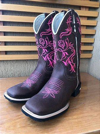 a5c64a73a bota texana country feminina montaria cano médio rosa bico quadrado redondo  couro diversos ( opção