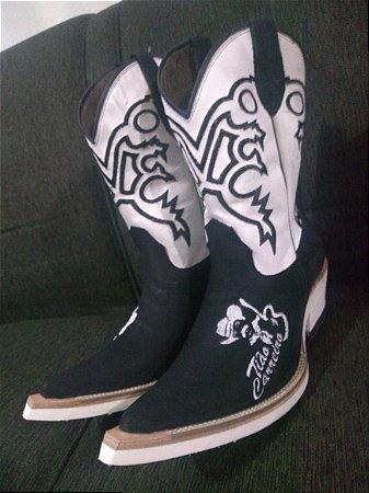 Bota texana bico fino aladim inclinado solado em eva branco com bordado do tião carreiro