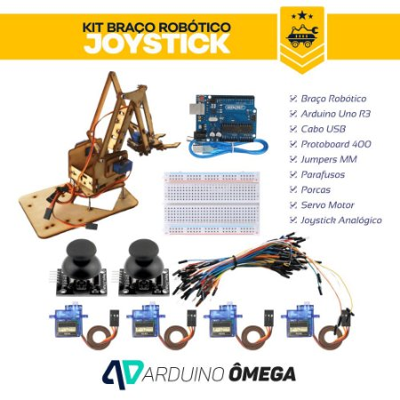 Kit Braço Robótico MDF Joystick Completo
