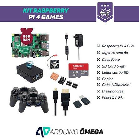 Kit Raspberry PI 4 Games - 8GB RAM 2 Joystick Wireless SD Card 64GB